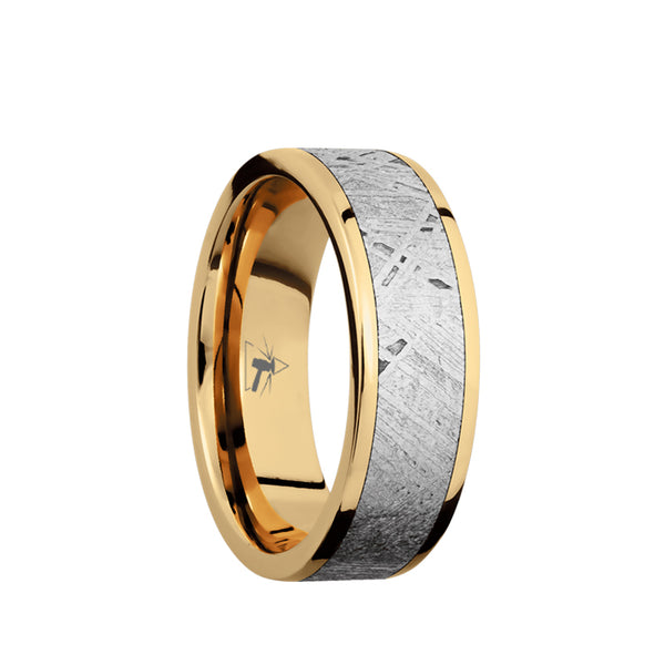 14K Gold men's wedding band with 5mm of meteorite inlay and polished, flat edges.