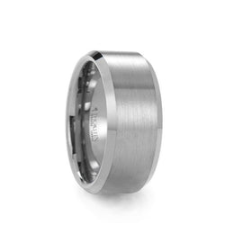 Tungsten men's wedding ring with brushed center and polished beveled edges.