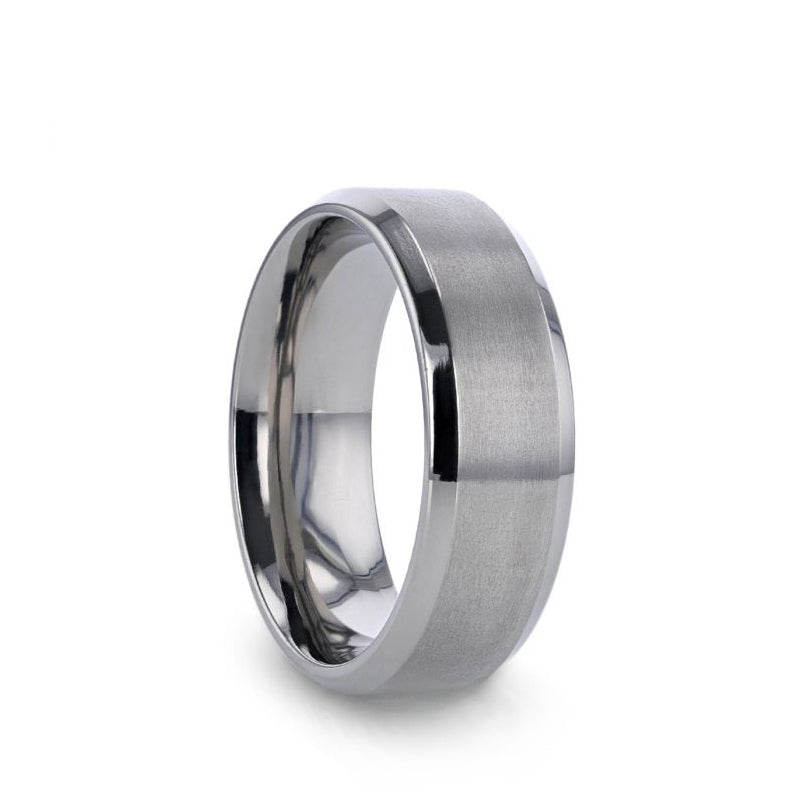 Titanium men's wedding ring with brushed center and beveled edges.