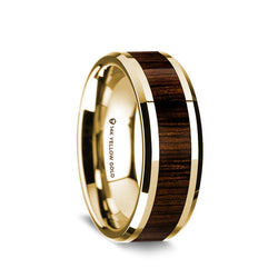 14K Gold men's wedding band with black walnut wood inlay and beveled edges