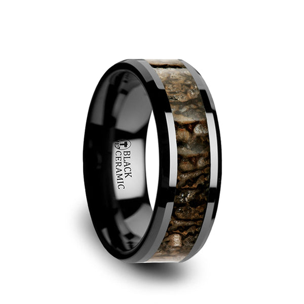 Ceramic men's wedding band with brown dinosaur bone inlay and beveled edges