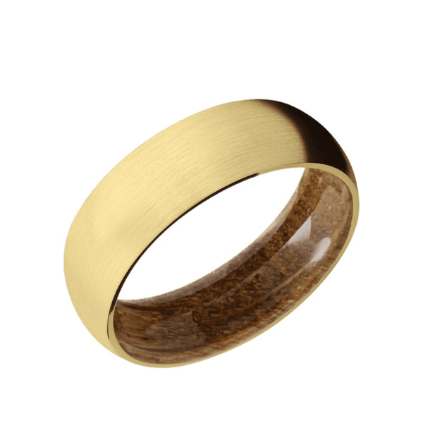 10K, 14K, or 18K Yellow Gold domed men's wedding band with a brushed finish featuring a whiskey barrel wood sleeve.