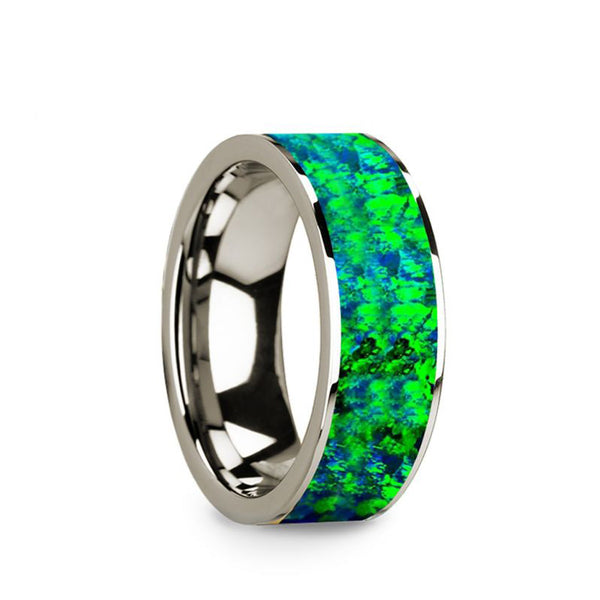 14K White Gold flat men's wedding band with blue and green opal inlay.
