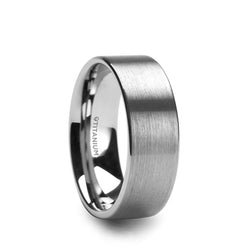 Titanium flat men's wedding ring with brushed finish