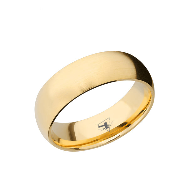 14K Yellow, White, or Rose Gold domed men's wedding band featuring a satin brushed finish