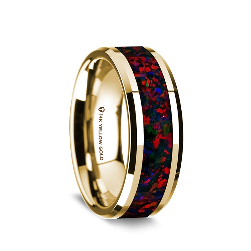 14K Gold men's wedding band with black and red opal inlay and beveled edges