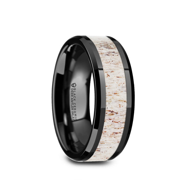 Black Ceramic men's wedding band with light antler inlay and beveled edges