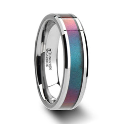 Tungsten wedding band with beveled edges and color changing inlay