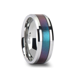 Tungsten men's wedding band with color changing inlay and beveled edges
