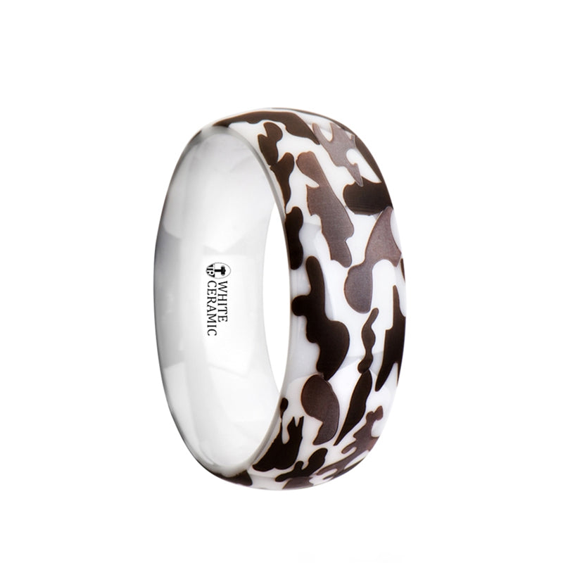 White Ceramic domed wedding ring with black and gray camo pattern