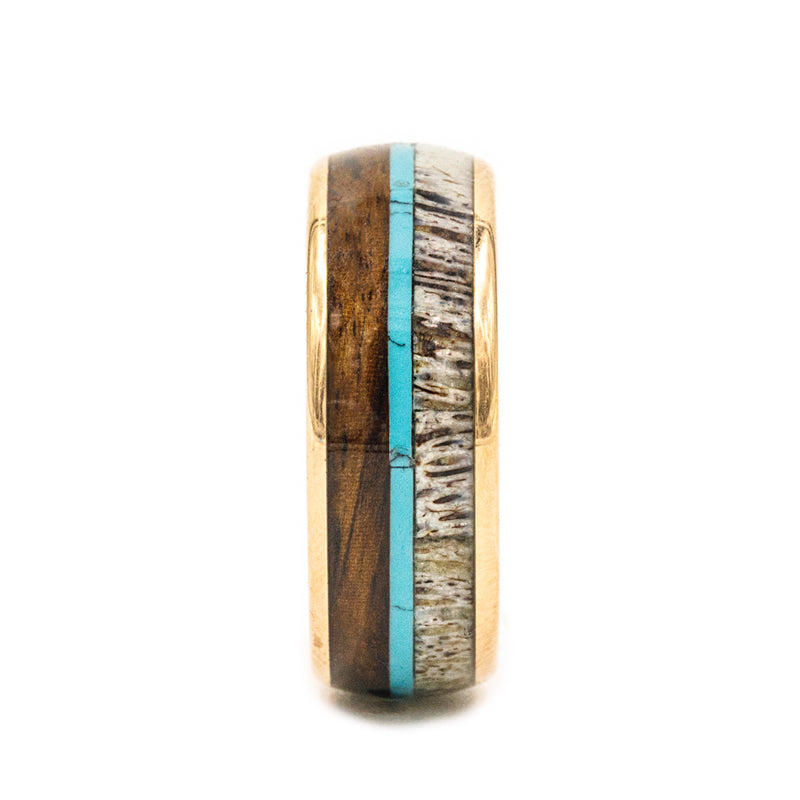 Rose Gold Plated domed men's wedding band with featuring a triple inlay consisting of koa wood, turquoise and ethically sourced deer antler.