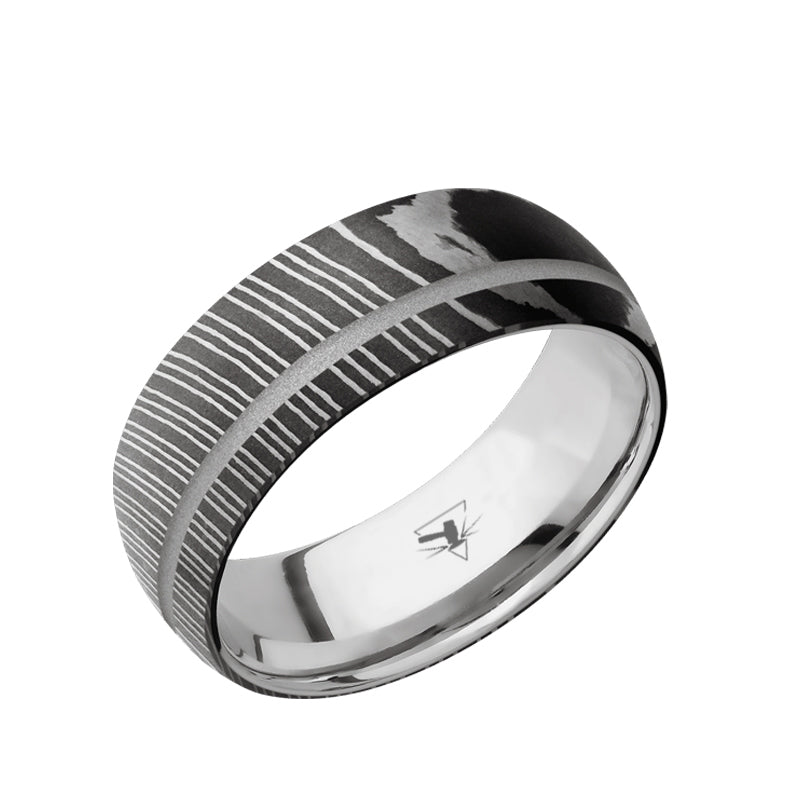 Damascus Steel domed men's wedding band with an off-center silver groove in an acid wash or polished finish featuring a Titanium sleeve.