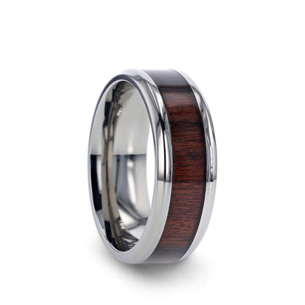 Titanium men's wedding ring with rosewood inlay and beveled edges