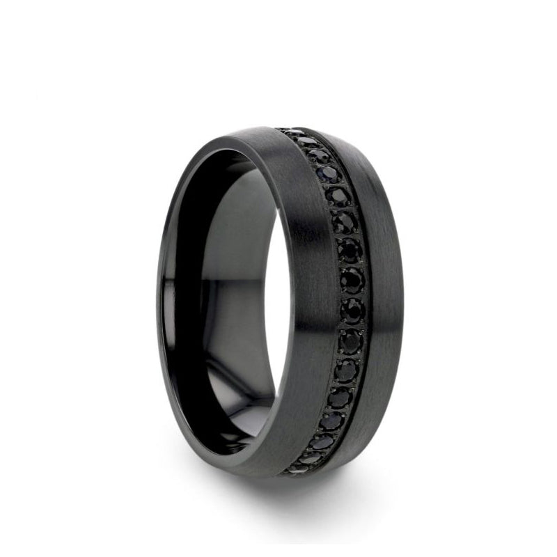 Black Titanium men's wedding ring with brushed finish and black sapphires.