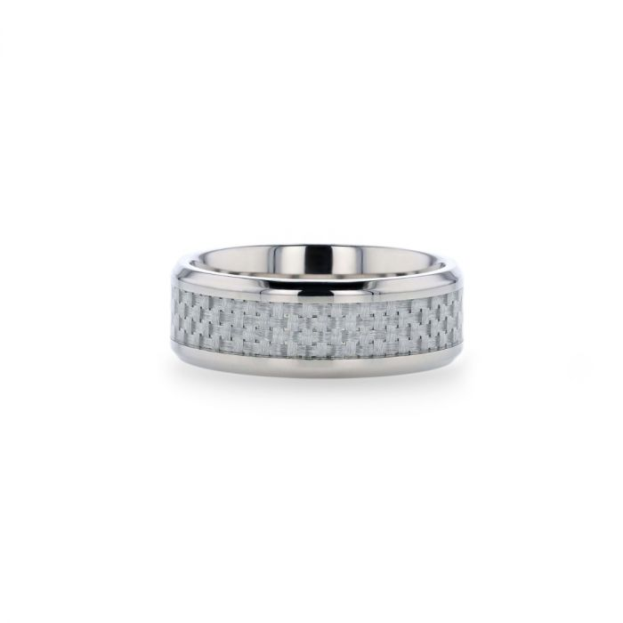 Titanium wedding ring with white carbon fiber inlay and beveled edges