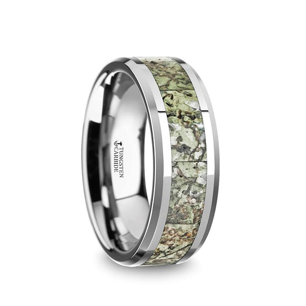 Tungsten wedding band with green dinosaur bone inlay and beveled edges