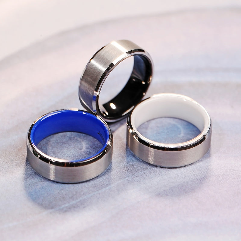 White Tungsten Wedding Ring with Brushed Center and Blue Interior