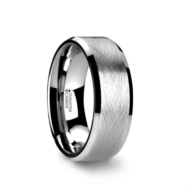 Tungsten Carbide men's wedding ring with wire brushed finish and beveled edges