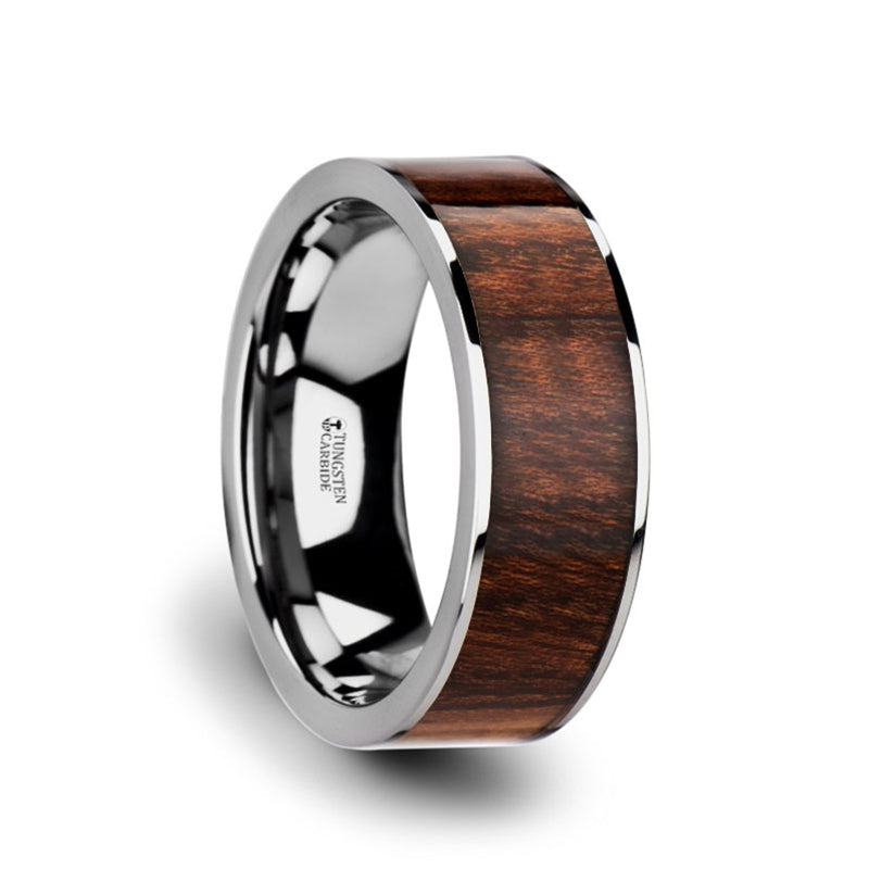 Tungsten Carbide men's flat wedding ring with carpathian wood inlay and polished edges