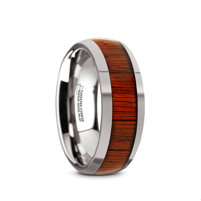 Tungsten Carbide domed men's wedding ring with padauk wood inlay and polished edges