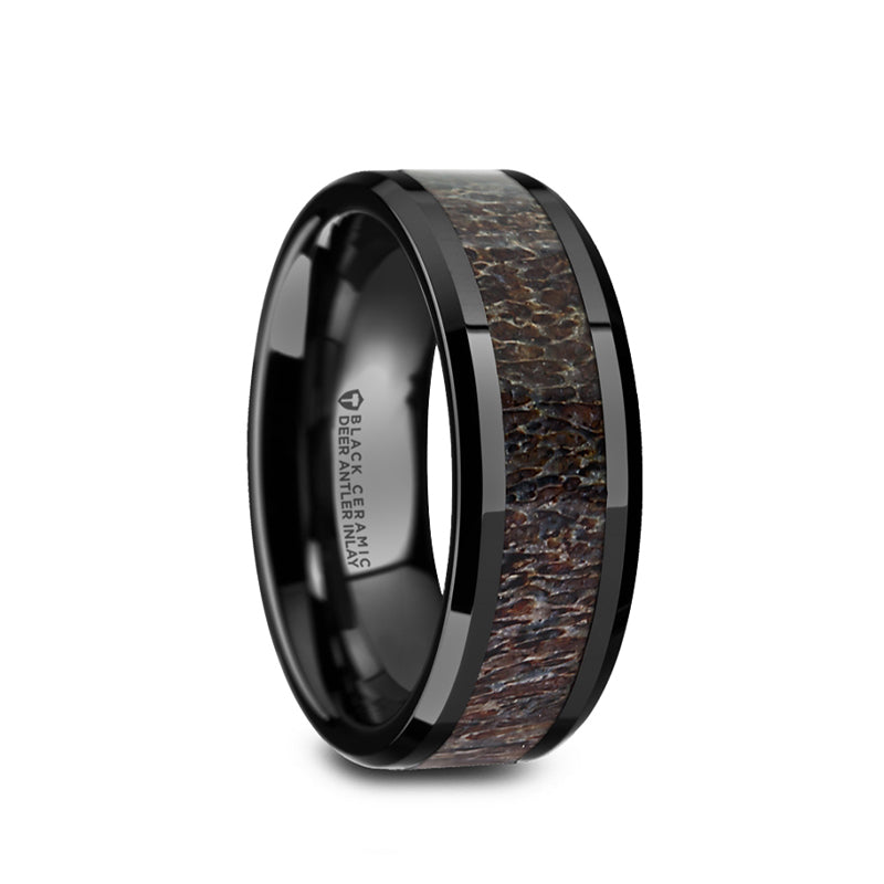 Black Ceramic men's wedding ring with dark brown antler inlay and beveled edges