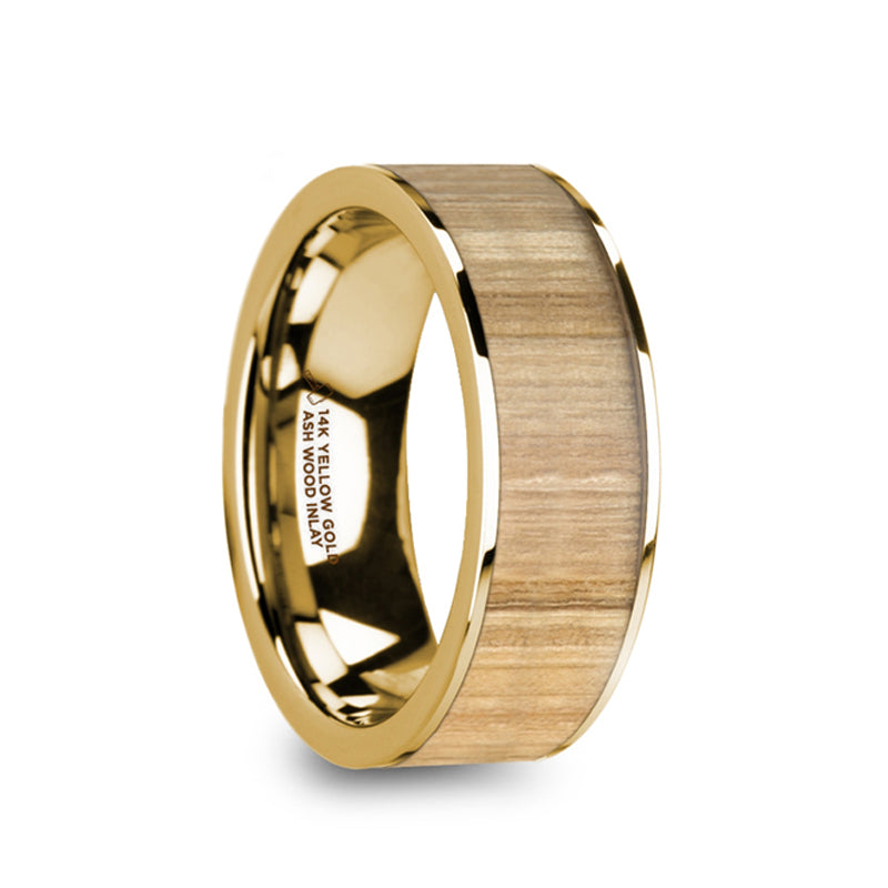 14K Gold flat wedding ring with ash wood inlay.