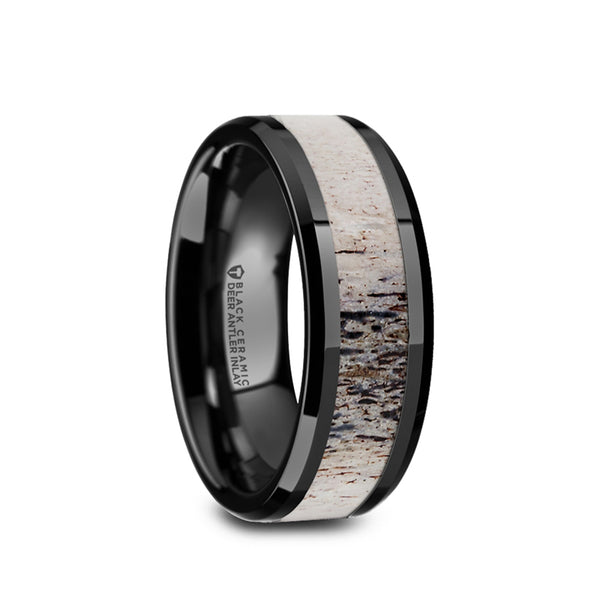 Black Ceramic men's wedding ring with ombre antler inlay and beveled edges