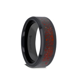 Ceramic men's wedding band with beveled edges and red dinosaur bone inlay.