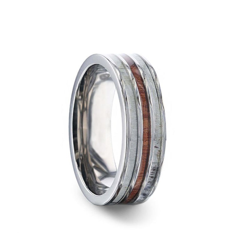 Titanium men's wedding band with double antler inlay, wood center and flat edges.