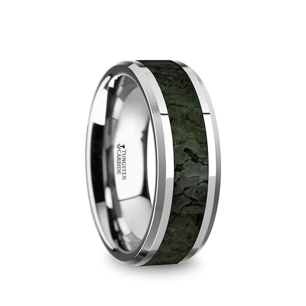 Tungsten men's wedding band with beveled edges and dark green dinosaur bone inlay