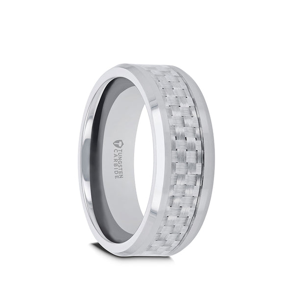 Tungsten men's wedding band with polished finish, beveled edges and white carbon fiber inlay.