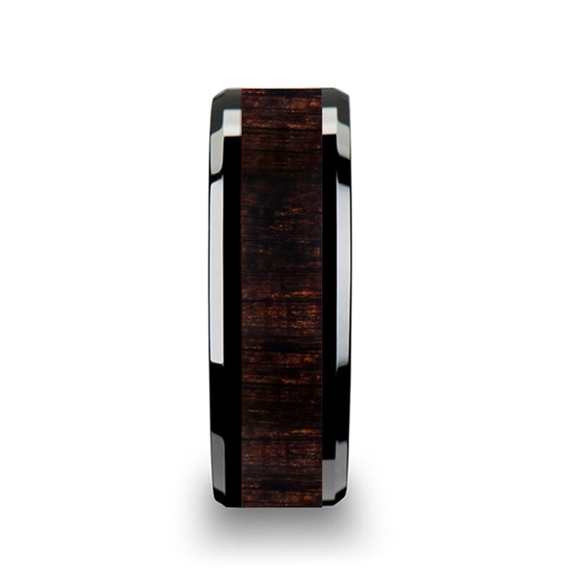Black Ceramic men's wedding ring with ebony wood inlay and beveled edges