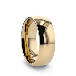Gold Plated Titanium domed wedding ring with a polished finish.