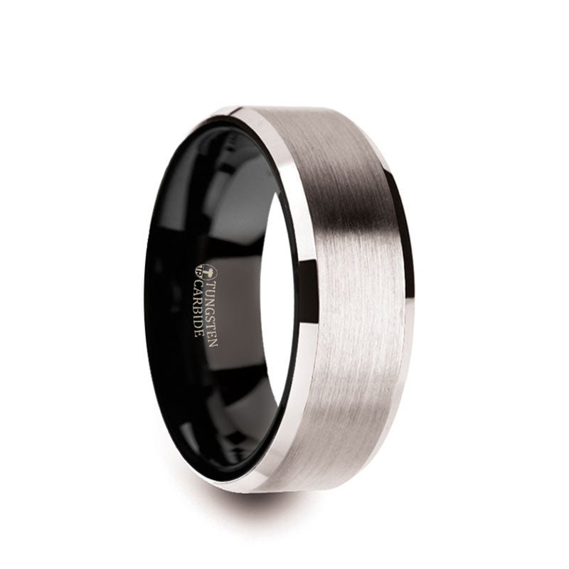 White Tungsten men's wedding ring with brushed center, black interior and beveled edges