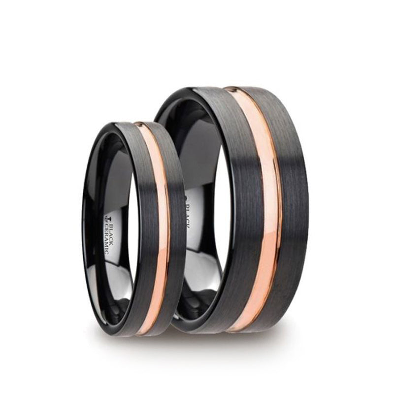 Black Ceramic matching wedding rings with brushed finish and rose gold groove.