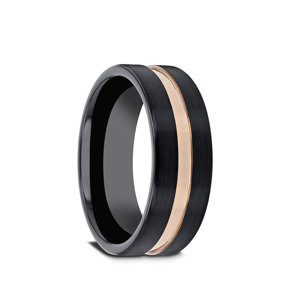 Black Ceramic men's wedding ring with brushed finish, rose gold groove and flat edges