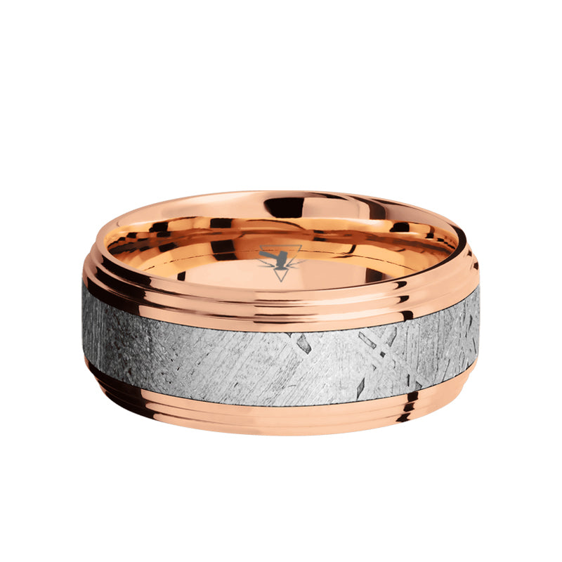 14K Rose Gold men's wedding band with 4mm of meteorite inlay and polished, double step edges