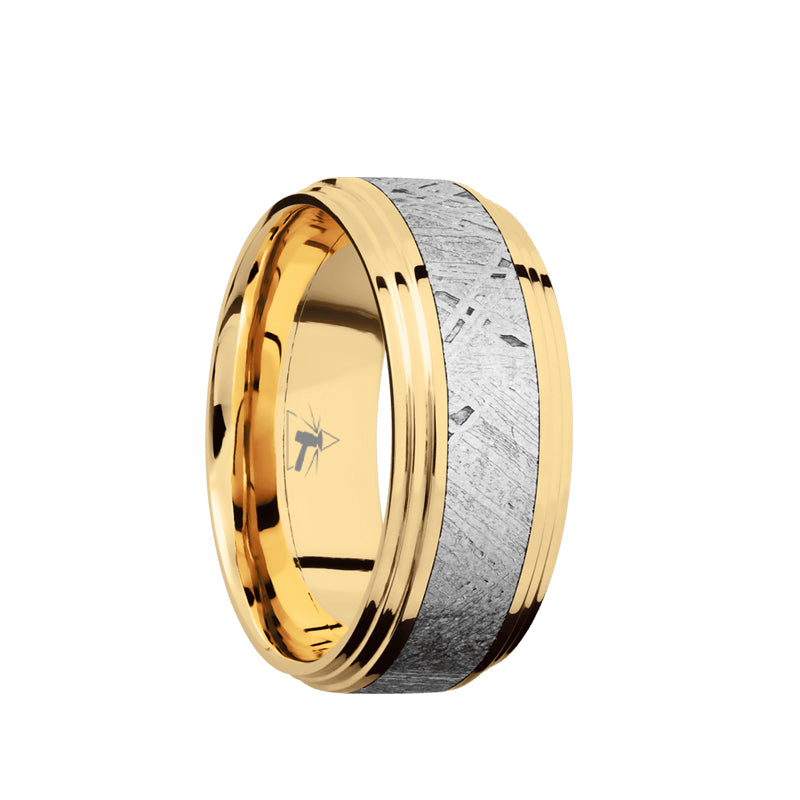 14K Rose Gold or 14K Yellow Gold men's wedding band with 4mm of meteorite inlay and polished, double step edges.