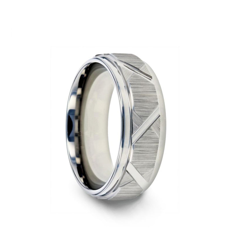 Tungsten men's wedding ring with triangle angle grooves and raised center.