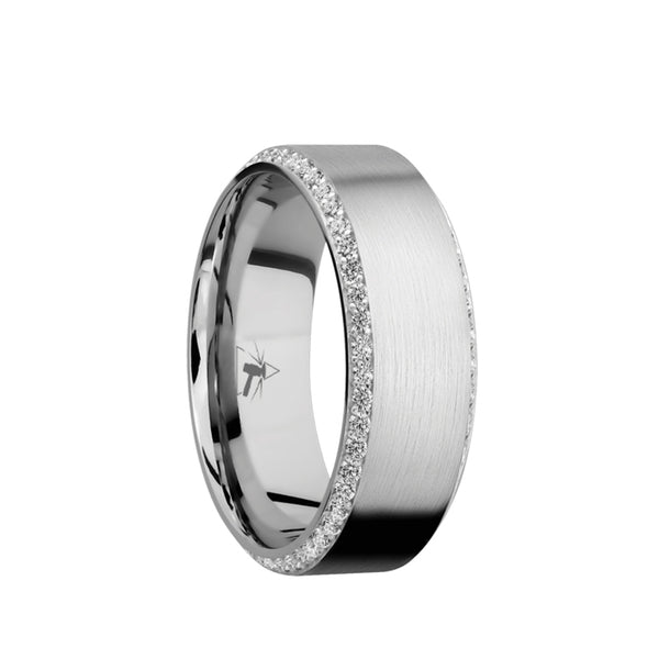 14K White Gold men's wedding band with bevel eternity arrangement of .01 carat diamonds in a bead setting featuring a satin finish.