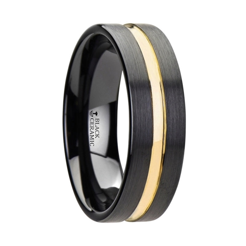 Black Ceramic wedding ring with brushed finish and yellow gold groove