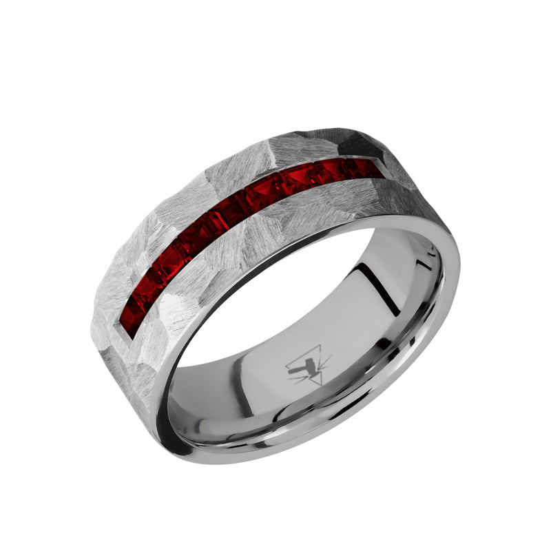 Titanium flat men's wedding band with a channel of 9 square cut .06 carat dark rubies featuring a rock finish.