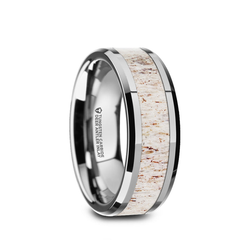 Tungsten men's wedding band with off-white deer antler inlay and beveled edges