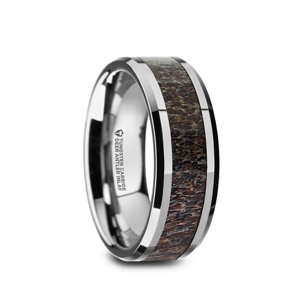 Tungsten men's wedding band with dark antler inlay and beveled edges