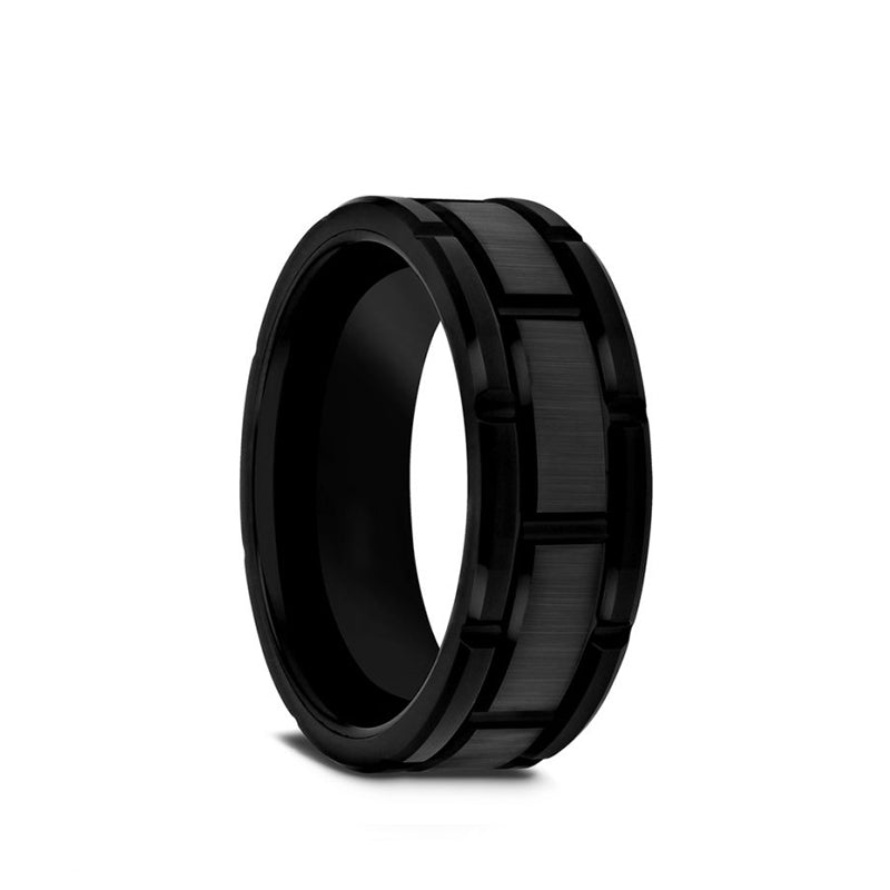 Tungsten Carbide men's wedding ring with brushed black center and alternating grooves