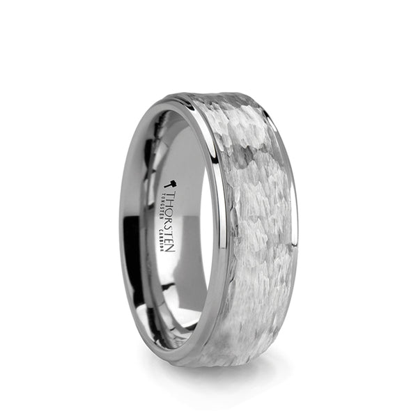 White Tungsten men's wedding ring with hammered center, polished finish and stepped edges.