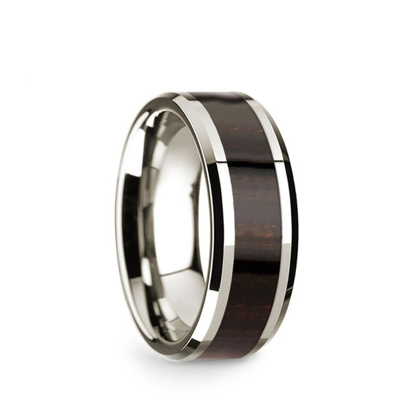 14K White Gold wedding band with ebony wood inlay and beveled edges.