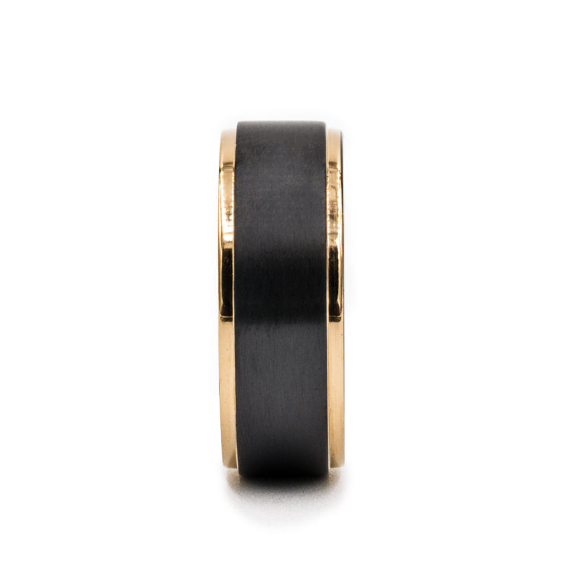 Black Zirconium flat men's wedding band with brushed center featuring rose gold plated, stepped edges.
