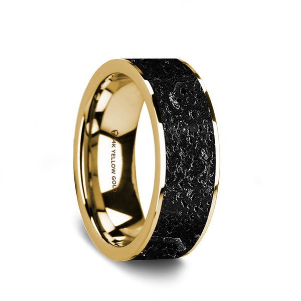 14K Gold flat wedding band with black and gray lava rock stone inlay