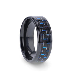 Black Titanium wedding ring with black and blue carbon fiber inlay and beveled edges.